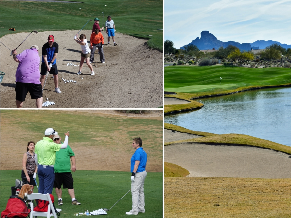 A collage of three photos depicting lessons at the Eagle Mountain Golf Academy